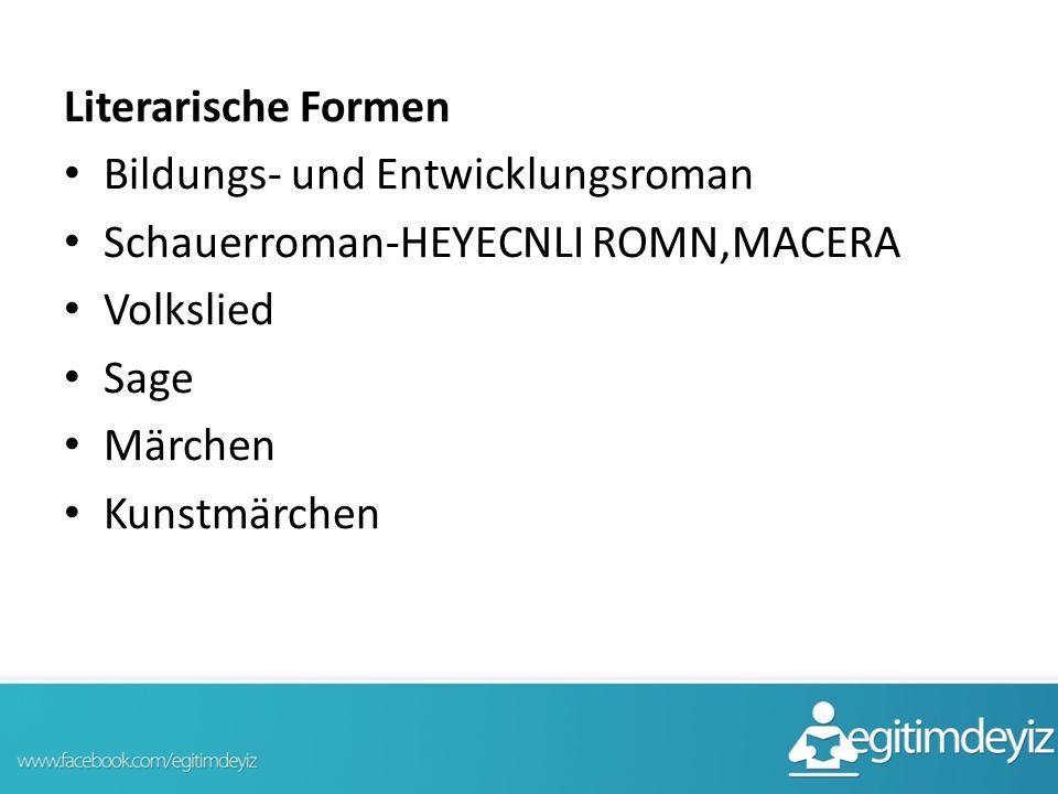 Literarische Formen Bildungs- und Entwicklungsroman. Schauerroman-HEYECNLI ROMN,MACERA. Volkslied.