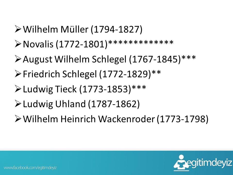 Wilhelm Müller (1794-1827) Novalis (1772-1801)************* August Wilhelm Schlegel (1767-1845)***