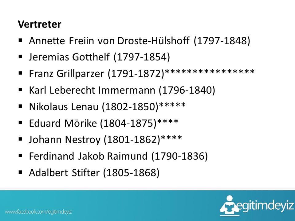 Vertreter Annette Freiin von Droste-Hülshoff (1797-1848) Jeremias Gotthelf (1797-1854) Franz Grillparzer (1791-1872)****************