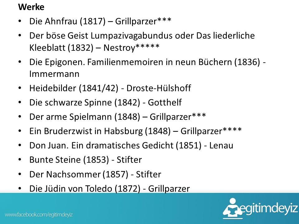 Werke Die Ahnfrau (1817) – Grillparzer*** Der böse Geist Lumpazivagabundus oder Das liederliche Kleeblatt (1832) – Nestroy*****