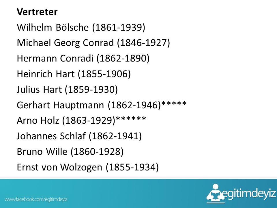 Vertreter Wilhelm Bölsche (1861-1939) Michael Georg Conrad (1846-1927) Hermann Conradi (1862-1890) Heinrich Hart (1855-1906) Julius Hart (1859-1930) Gerhart Hauptmann (1862-1946)***** Arno Holz (1863-1929)****** Johannes Schlaf (1862-1941) Bruno Wille (1860-1928) Ernst von Wolzogen (1855-1934)