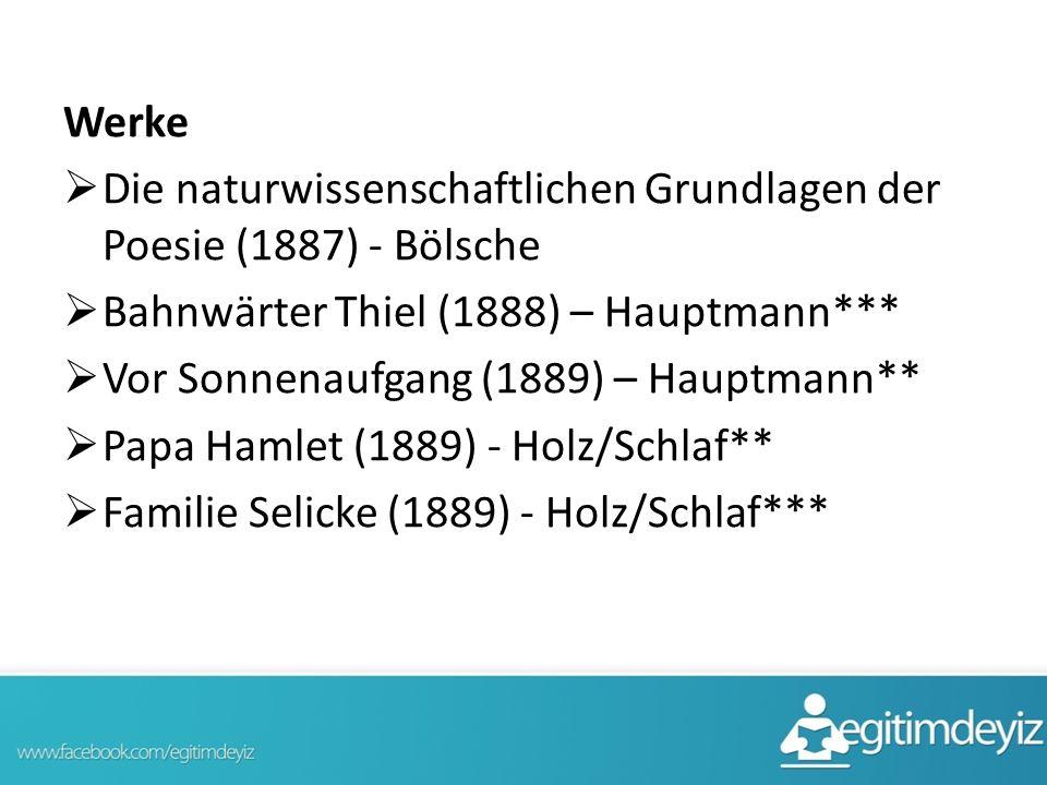 Werke Die naturwissenschaftlichen Grundlagen der Poesie (1887) - Bölsche. Bahnwärter Thiel (1888) – Hauptmann***
