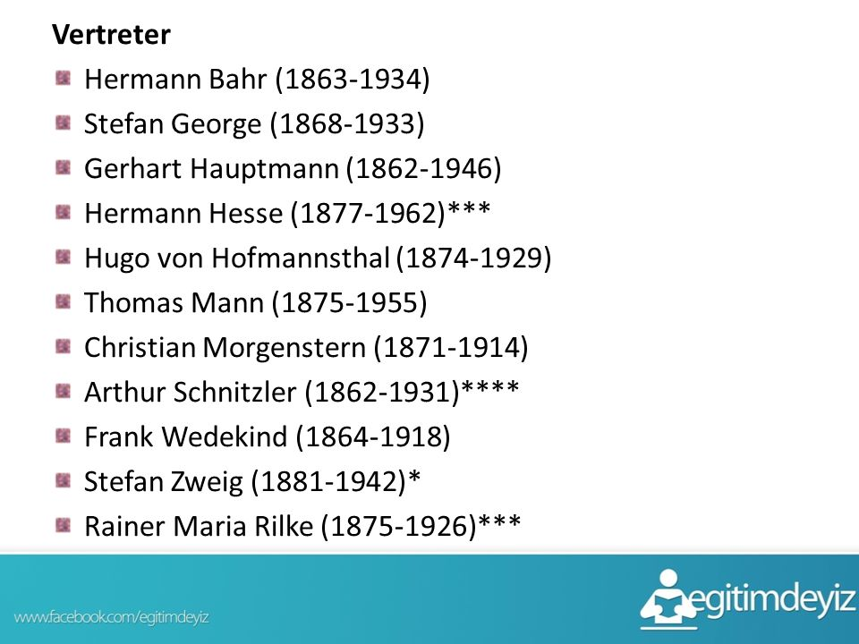 Vertreter Hermann Bahr (1863-1934) Stefan George (1868-1933) Gerhart Hauptmann (1862-1946) Hermann Hesse (1877-1962)***