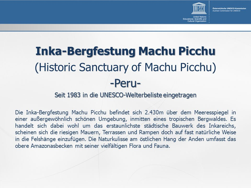 Inka-Bergfestung Machu Picchu
