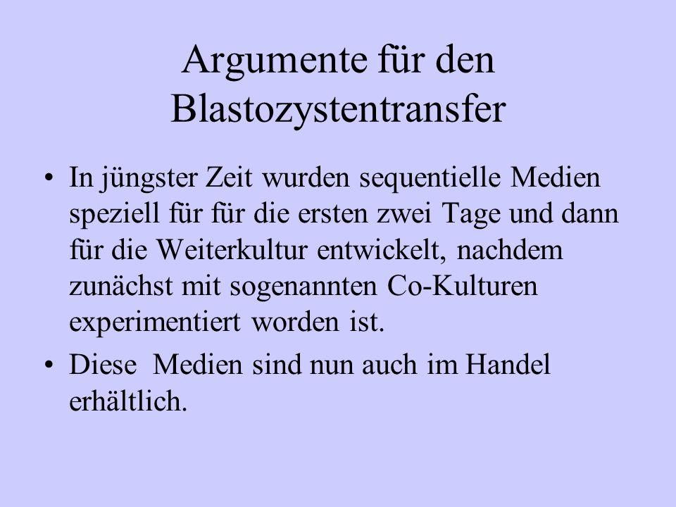Argumente für den Blastozystentransfer