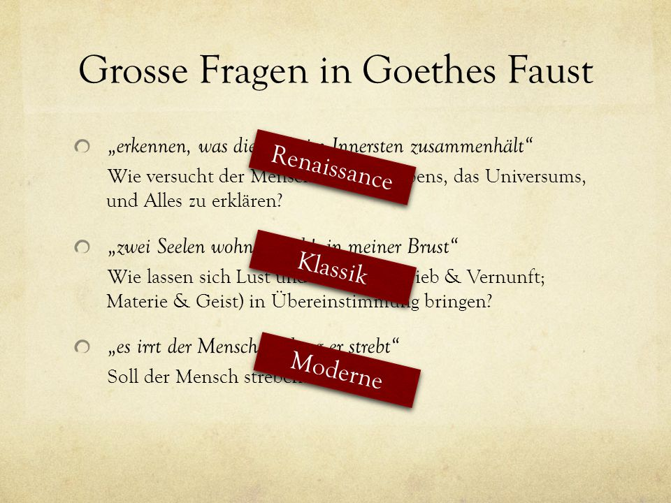 Grosse Fragen in Goethes Faust