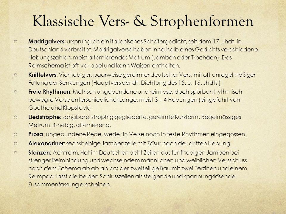 Klassische Vers- & Strophenformen