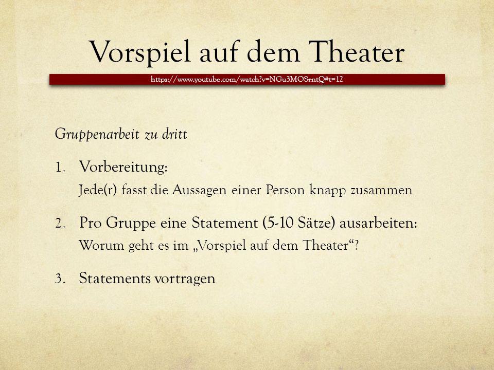 Vorspiel auf dem Theater