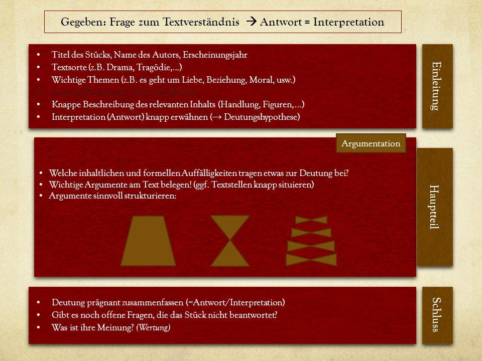 Gegeben: Frage zum Textverständnis  Antwort = Interpretation