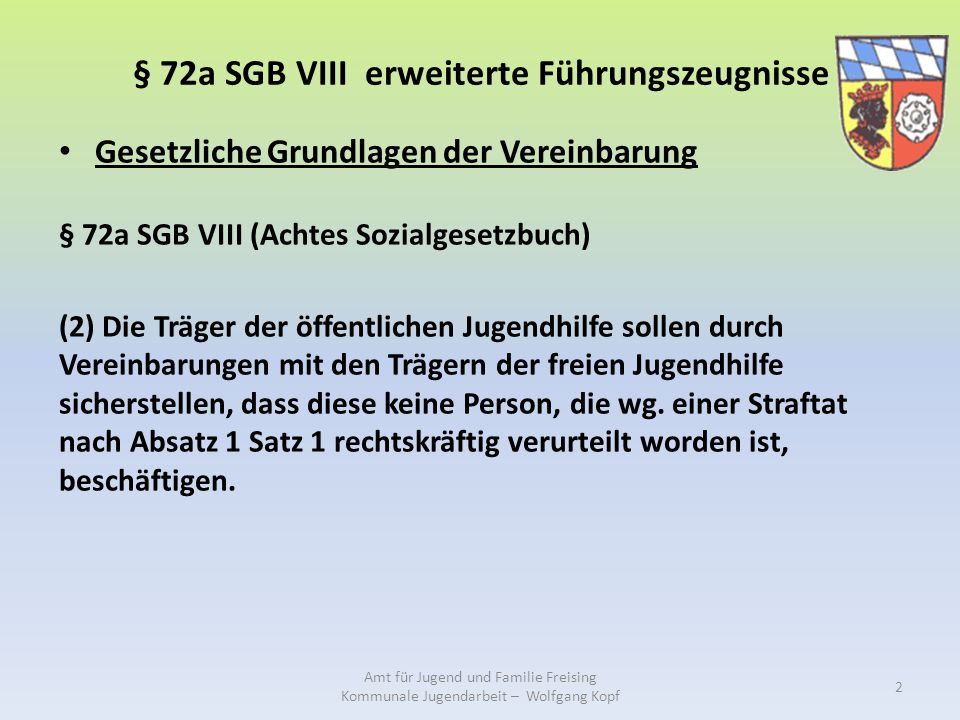 § 72a SGB VIII erweiterte Führungszeugnisse
