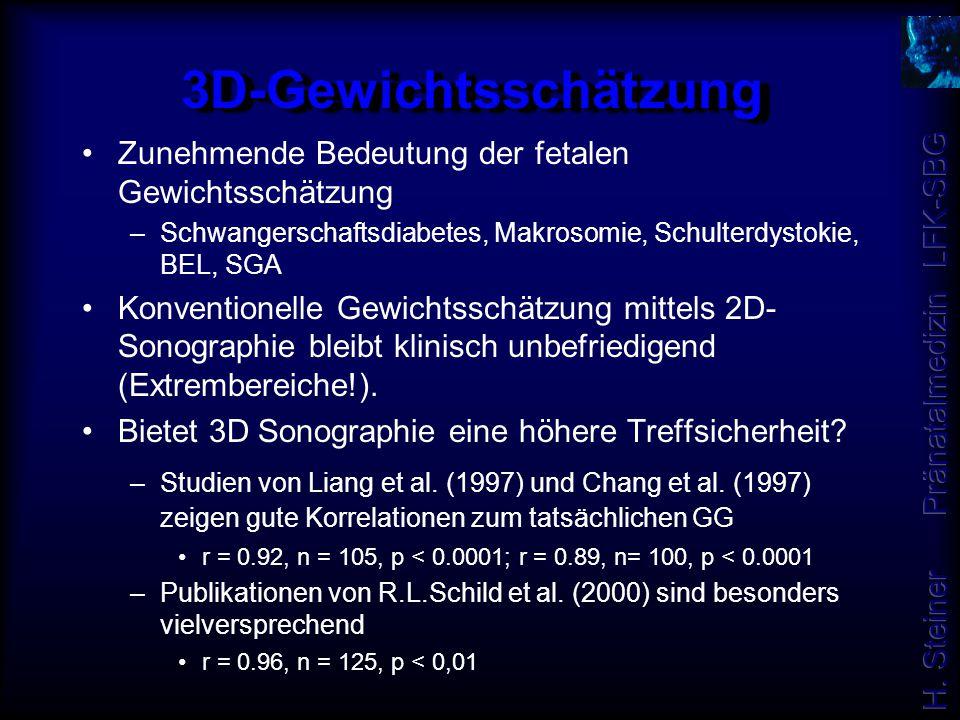 3D-Gewichtsschätzung Zunehmende Bedeutung der fetalen Gewichtsschätzung. Schwangerschaftsdiabetes, Makrosomie, Schulterdystokie, BEL, SGA.