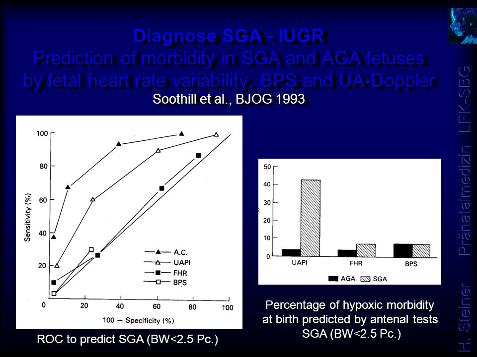 Diagnose SGA - IUGR Prediction of morbidity in SGA and AGA fetuses by fetal heart rate variability, BPS and UA-Doppler Soothill et al., BJOG 1993