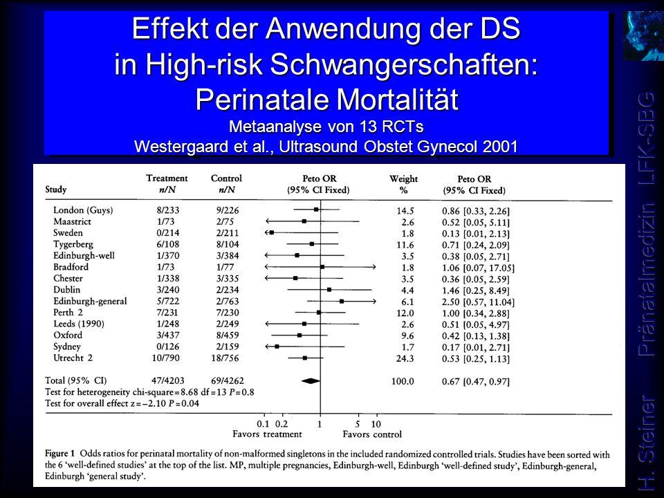 Effekt der Anwendung der DS in High-risk Schwangerschaften: Perinatale Mortalität Metaanalyse von 13 RCTs Westergaard et al., Ultrasound Obstet Gynecol 2001