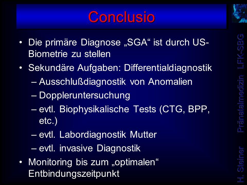 "Conclusio Die primäre Diagnose ""SGA ist durch US-Biometrie zu stellen"