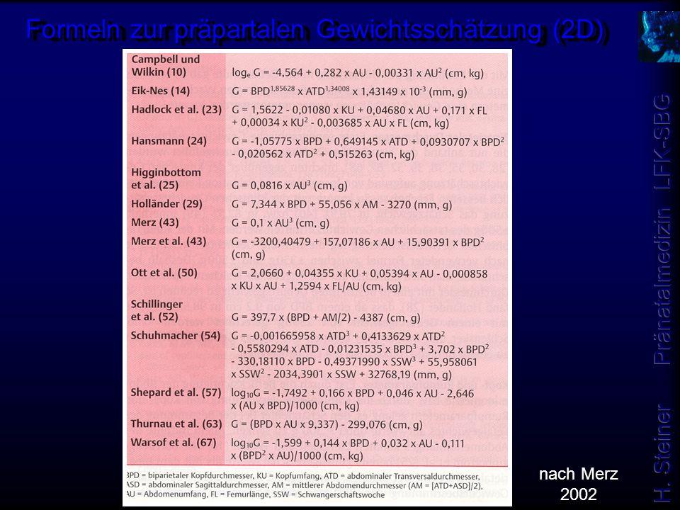 Formeln zur präpartalen Gewichtsschätzung (2D)