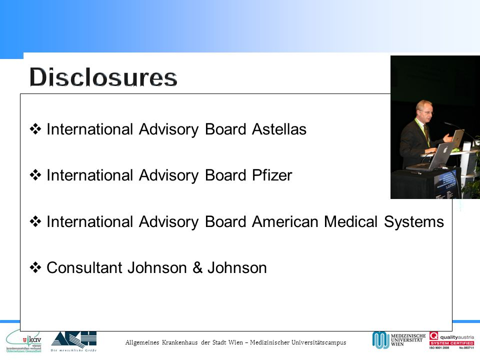 Disclosures International Advisory Board Astellas