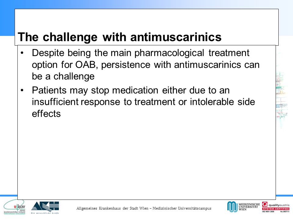 The challenge with antimuscarinics