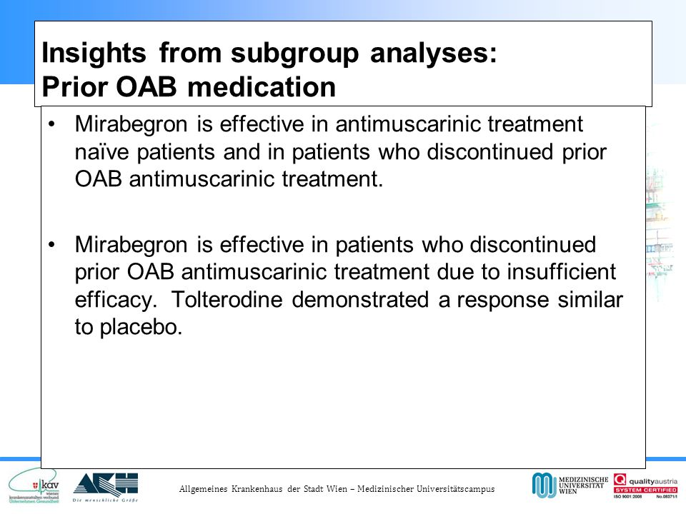 Insights from subgroup analyses: Prior OAB medication