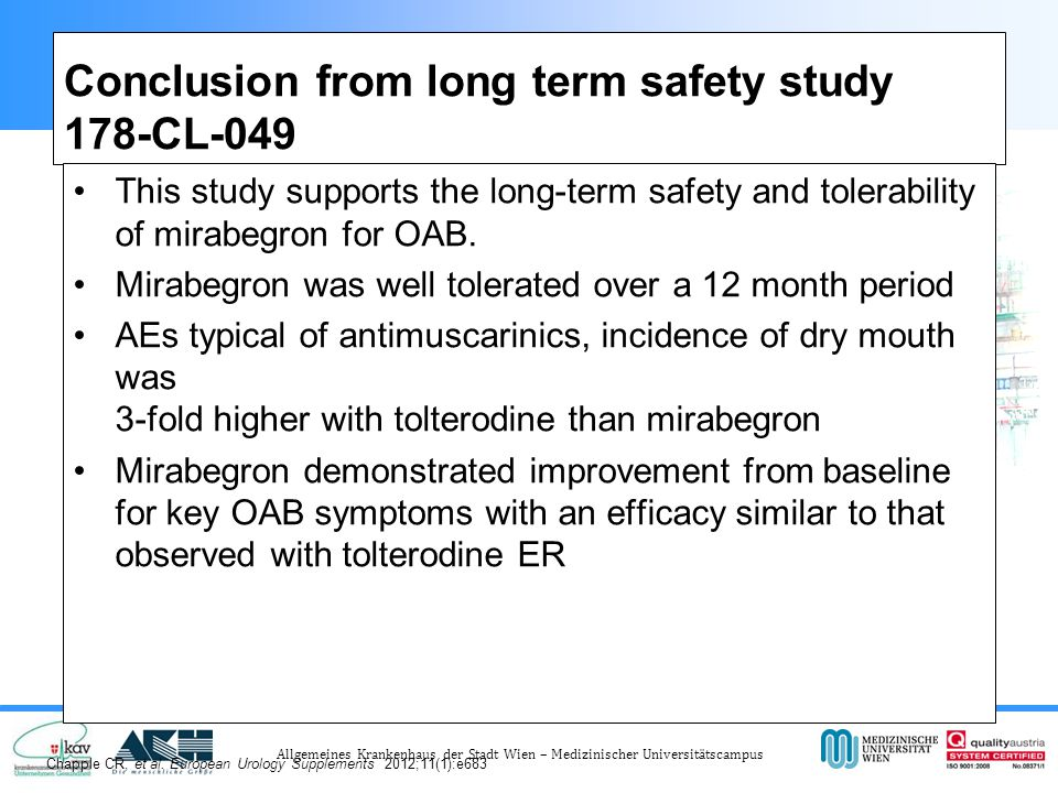 Conclusion from long term safety study 178-CL-049