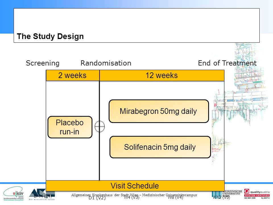 The Study Design 2 weeks 12 weeks Mirabegron 50mg daily Placebo run-in
