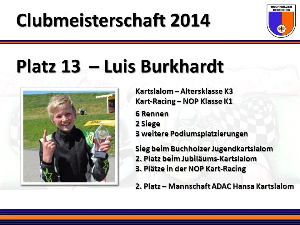 Clubmeisterschaft 2014 Platz 13 – Luis Burkhardt