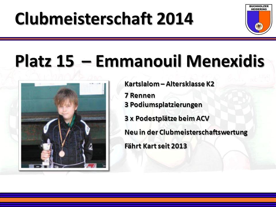 Clubmeisterschaft 2014 Platz 15 – Emmanouil Menexidis