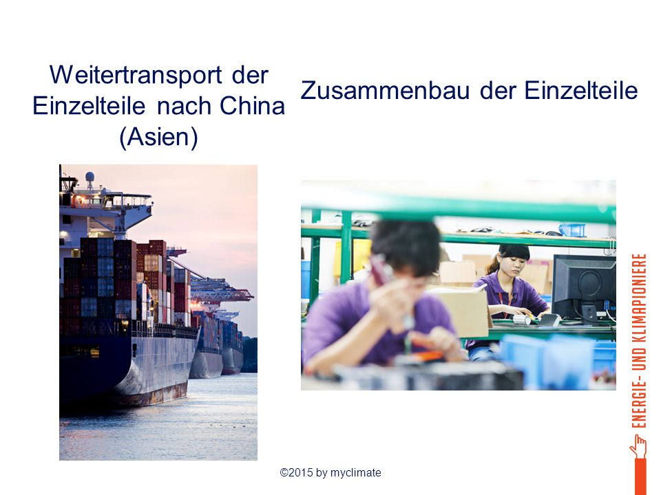 Weitertransport der Einzelteile nach China (Asien)
