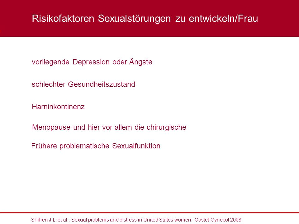 Risikofaktoren Sexualstörungen zu entwickeln/Frau
