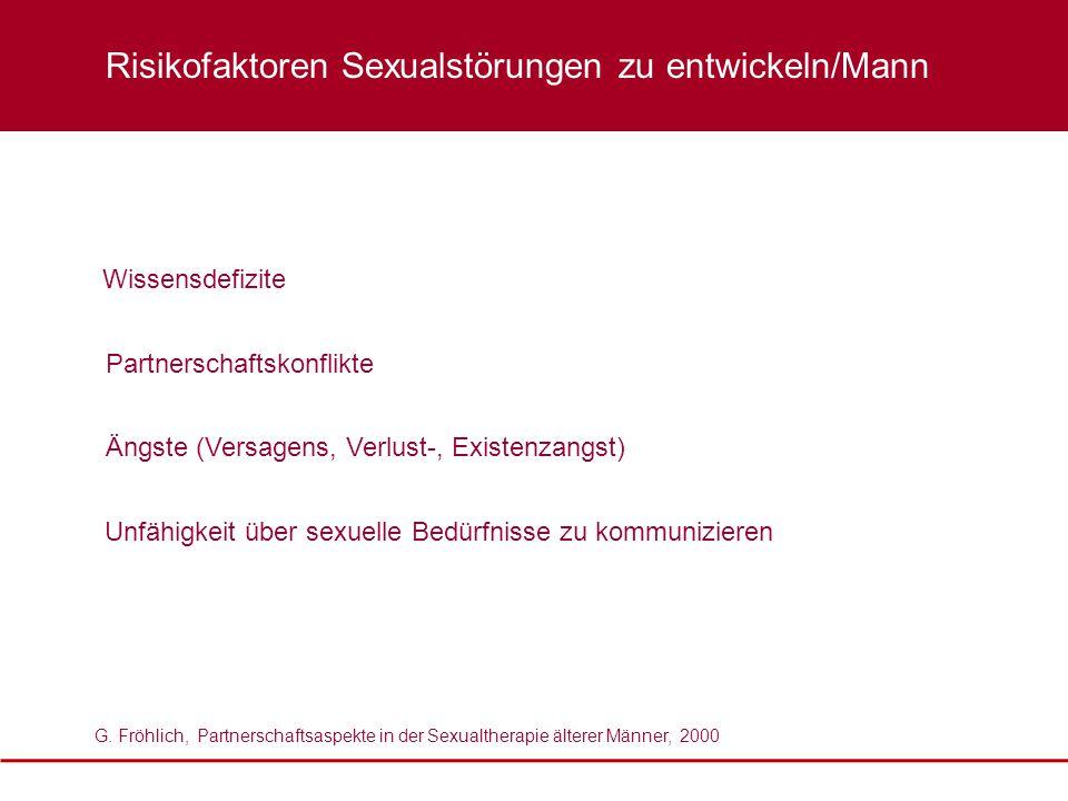 Risikofaktoren Sexualstörungen zu entwickeln/Mann