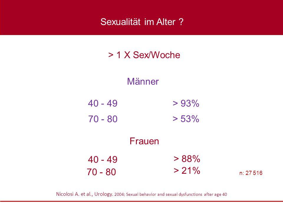 Sexualität im Alter > 1 X Sex/Woche Männer 40 - 49 > 93%
