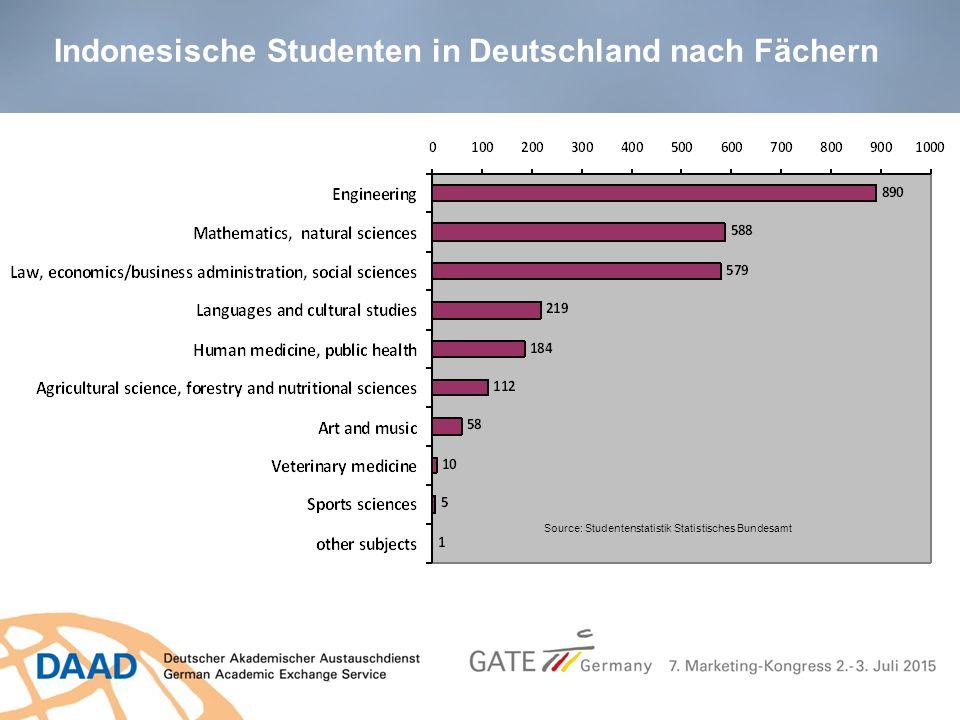 Indonesische Studenten in Deutschland nach Fächern