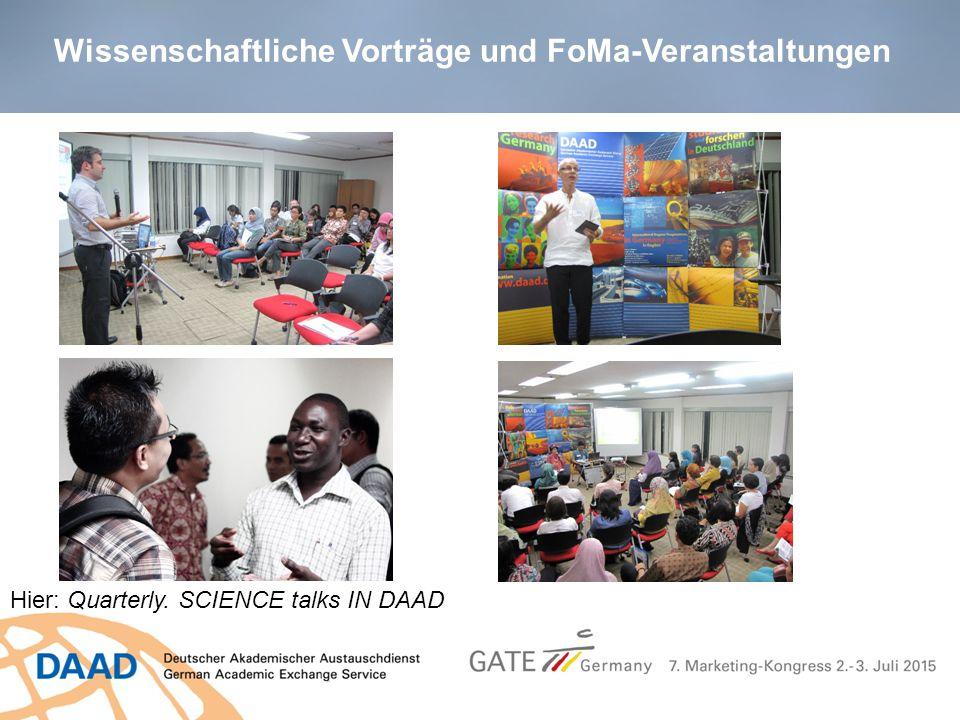 Wissenschaftliche Vorträge und FoMa-Veranstaltungen