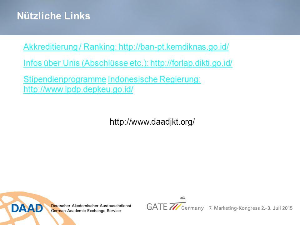 Nützliche Links Akkreditierung / Ranking: http://ban-pt.kemdiknas.go.id/ Infos über Unis (Abschlüsse etc.): http://forlap.dikti.go.id/