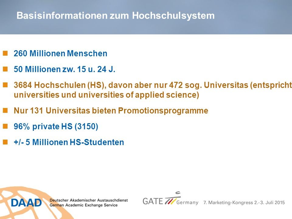 Basisinformationen zum Hochschulsystem