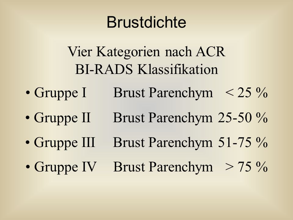 Brustdichte Vier Kategorien nach ACR BI-RADS Klassifikation