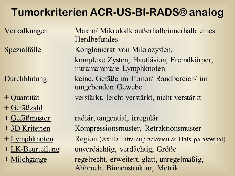 Tumorkriterien ACR-US-BI-RADS® analog