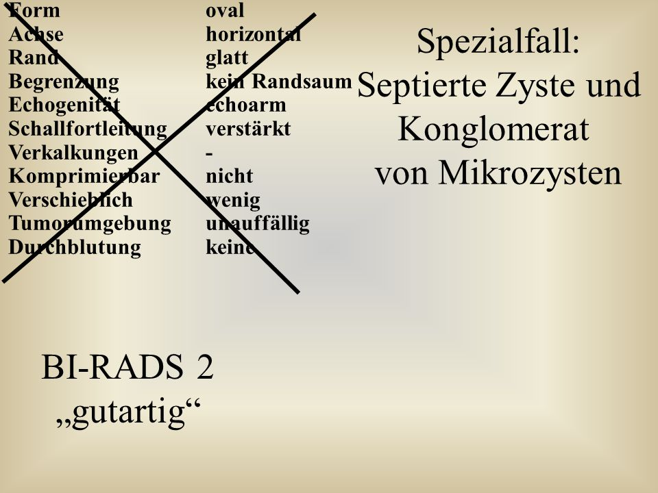 Spezialfall: Septierte Zyste und Konglomerat von Mikrozysten BI-RADS 2