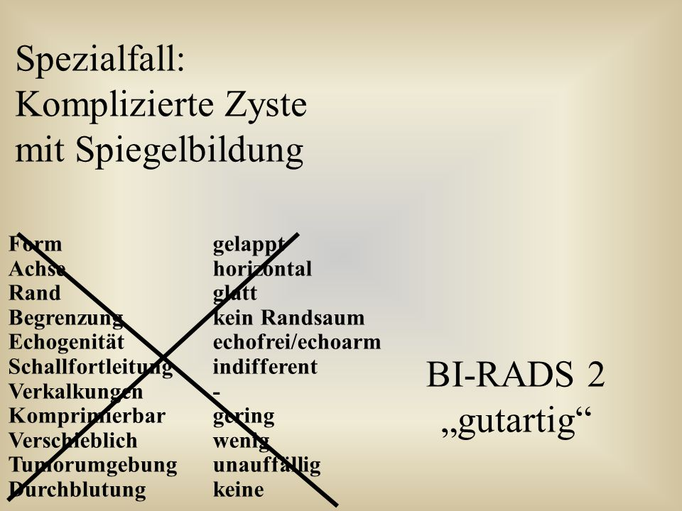 Spezialfall: Komplizierte Zyste mit Spiegelbildung BI-RADS 2