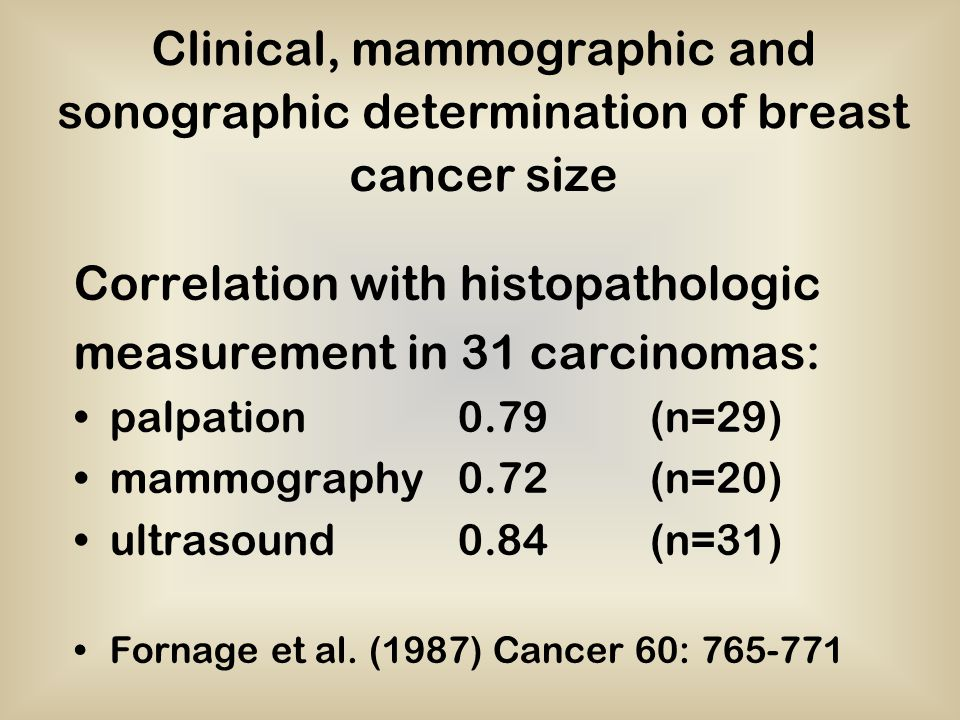 Correlation with histopathologic measurement in 31 carcinomas: