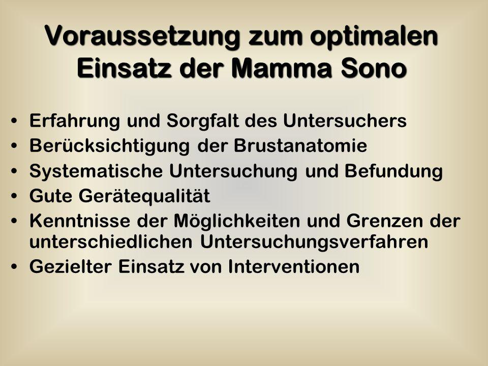 Voraussetzung zum optimalen Einsatz der Mamma Sono