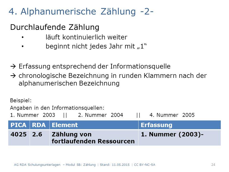 4. Alphanumerische Zählung -2-