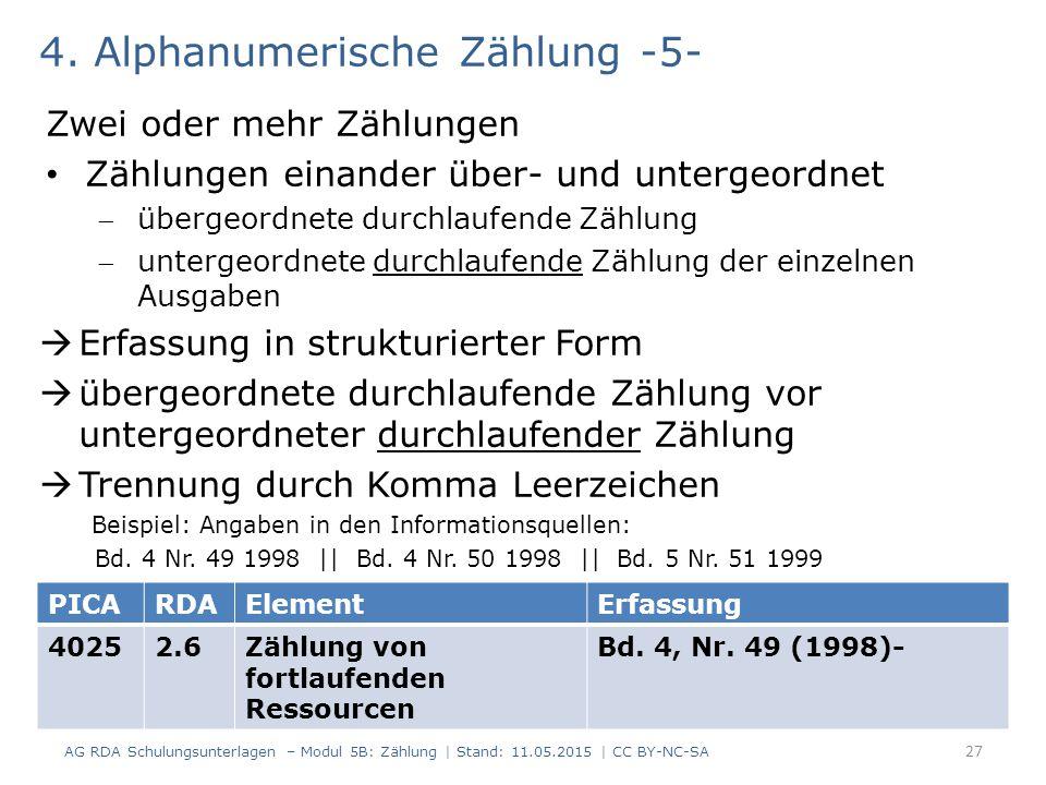4. Alphanumerische Zählung -5-