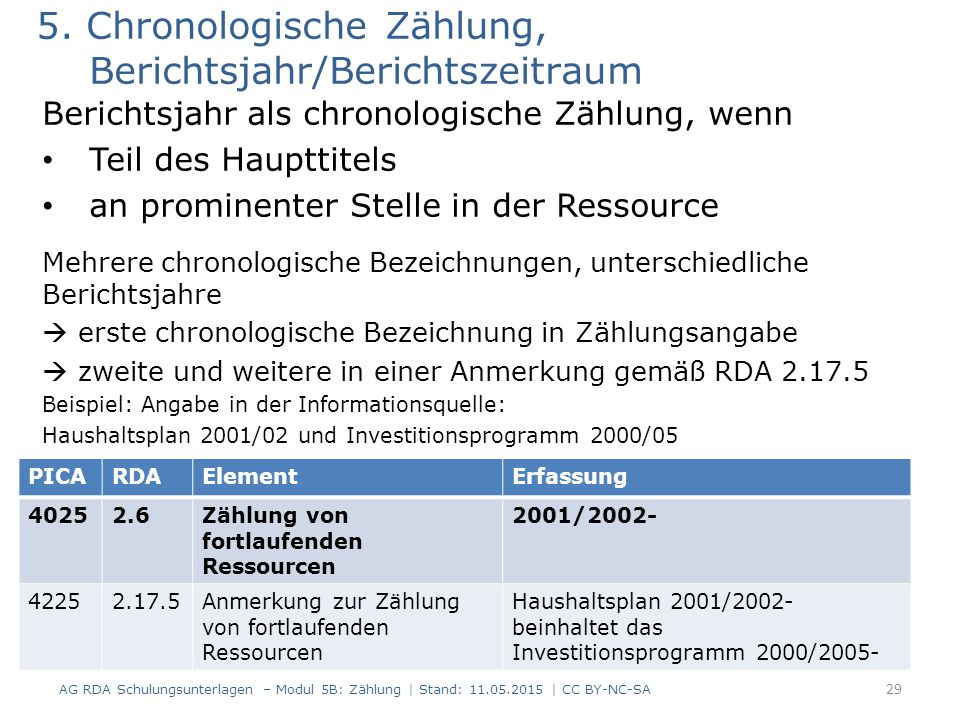 5. Chronologische Zählung, Berichtsjahr/Berichtszeitraum