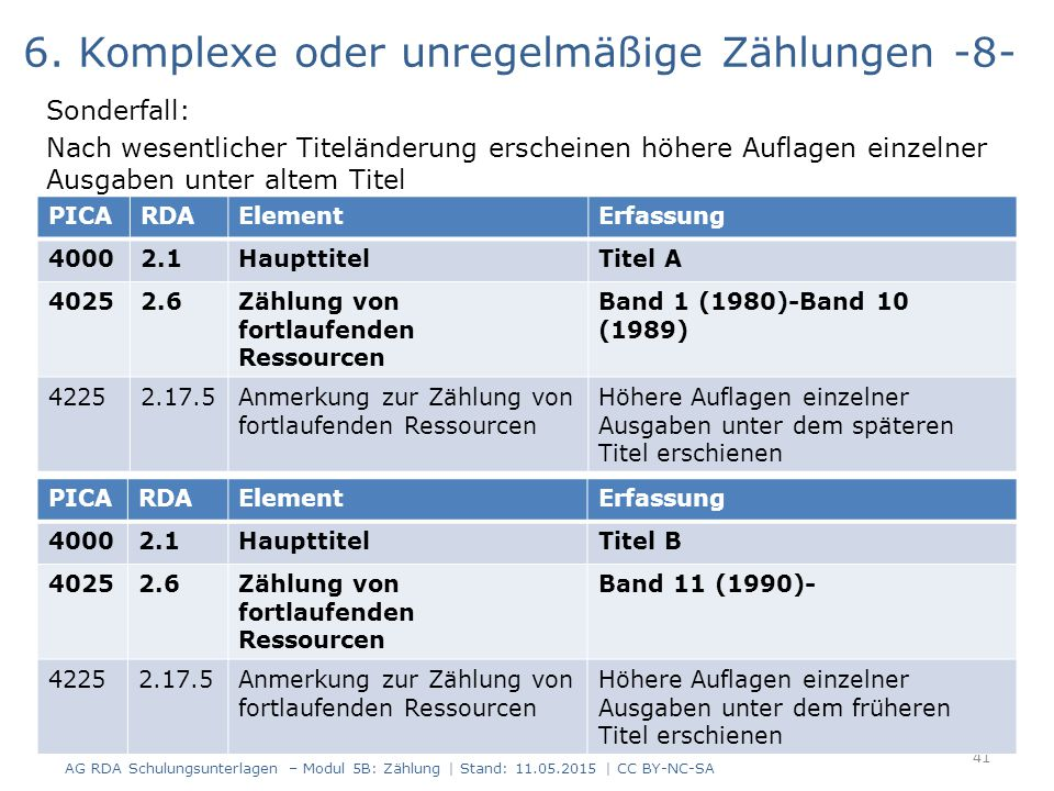 6. Komplexe oder unregelmäßige Zählungen -8-