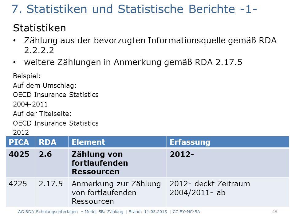 7. Statistiken und Statistische Berichte -1-