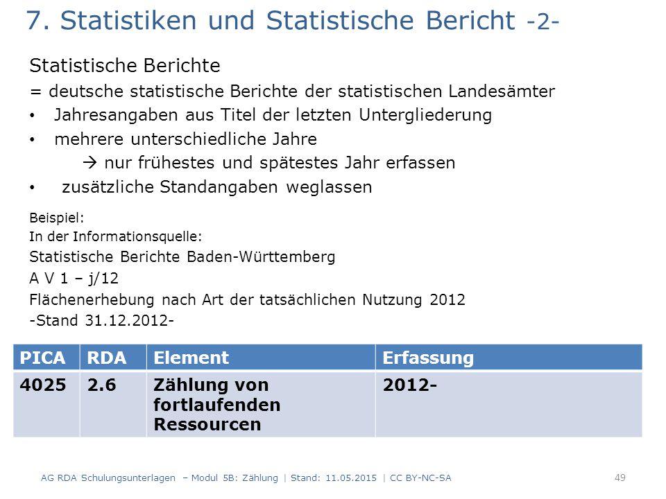 7. Statistiken und Statistische Bericht -2-