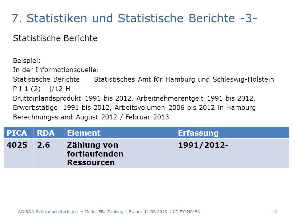 7. Statistiken und Statistische Berichte -3-