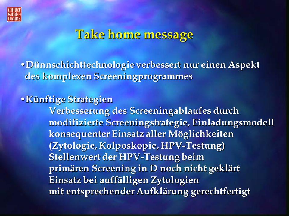 Take home message Dünnschichttechnologie verbessert nur einen Aspekt des komplexen Screeningprogrammes.