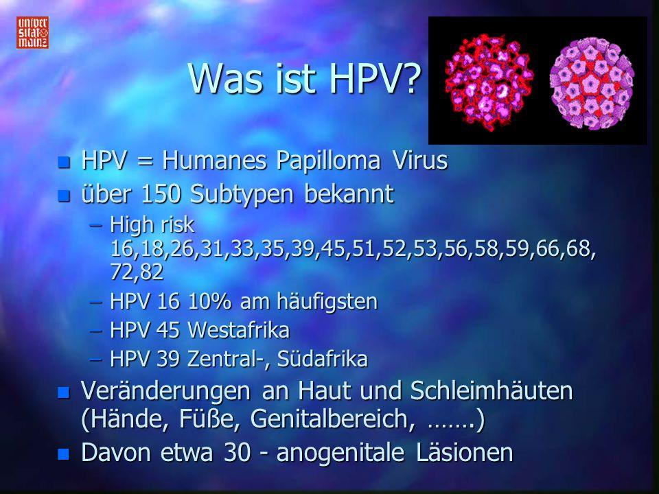 Was ist HPV HPV = Humanes Papilloma Virus über 150 Subtypen bekannt