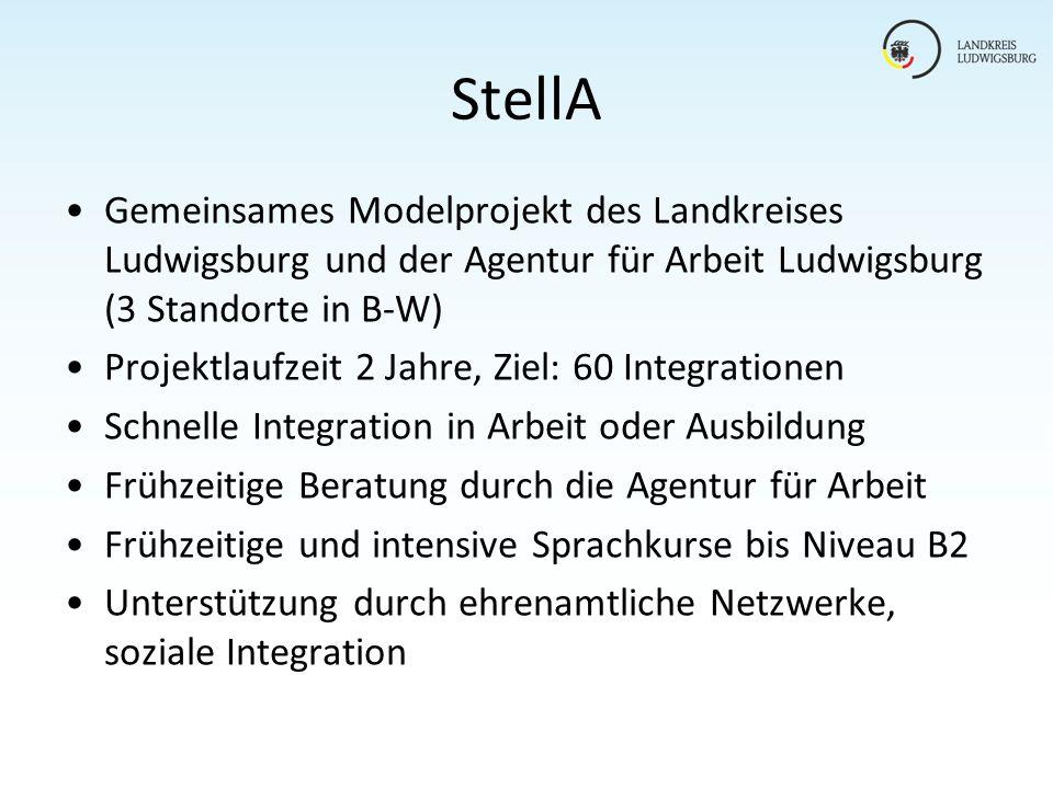 StellA Gemeinsames Modelprojekt des Landkreises Ludwigsburg und der Agentur für Arbeit Ludwigsburg (3 Standorte in B-W)